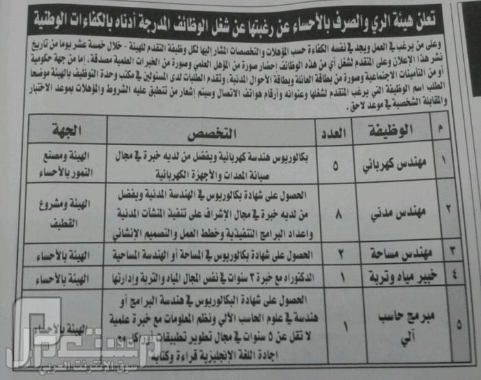 وظائف للجنسين بالرياض..+الشرقية والدوادمي 1434 وظائف في الاحساء