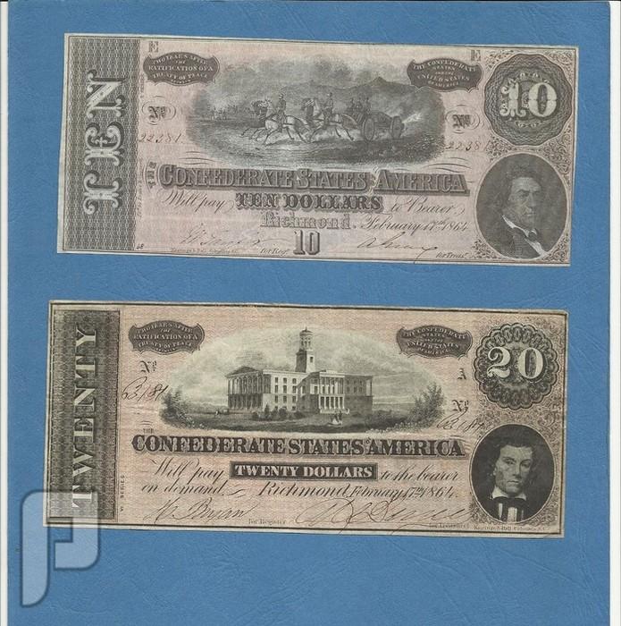 اطقم وعملات ورقية خليجية وعربية وعثمانية وامريكية منها نادرة البند 22----10+20 دولار امريكي سنة 1864