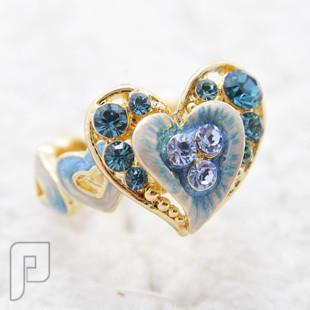 تشكيلة مجوهرات رقم 1 : خواتم , بروشات , أساور , سلاسل , كوليهات خاتم القلب الرقيق أزرق اللون ماركة efine السعر 65 ريال