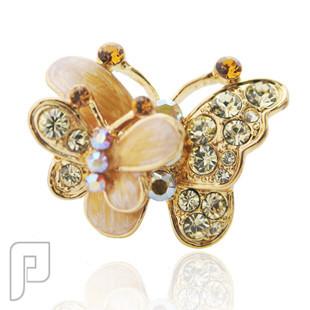 تشكيلة مجوهرات رقم 2 : هدايا و اساور و خواتم نسائية خاتم الفراشات الطائرة اللون الأصفر السعر 75 ريال