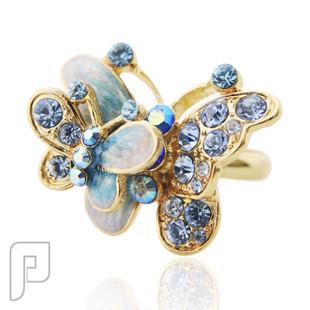 تشكيلة مجوهرات رقم 2 : هدايا و اساور و خواتم نسائية خاتم الفراشات الطائرة اللون الأزرق السعر 75 ريال