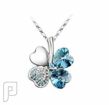 مجموعة متميزة جدااا من السلاسل سلسال على شكل زهرة مطلي بالذهب الأبيض 18 اللون أزرق