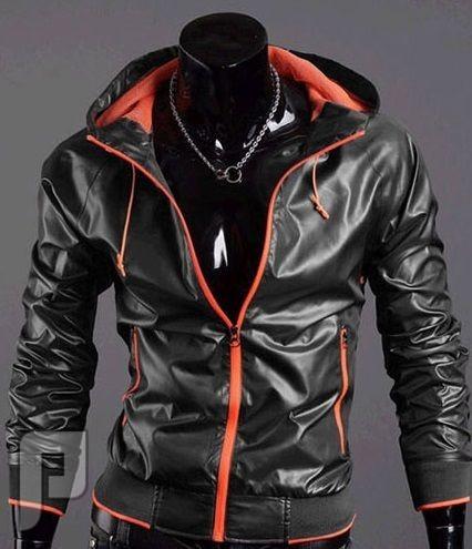 مجموعة ولا اروع من اجمل الجواكيت الرجالى الانيقة جاكت خفيف ذو لون أسود ( ضد الامطار ) موديل 143