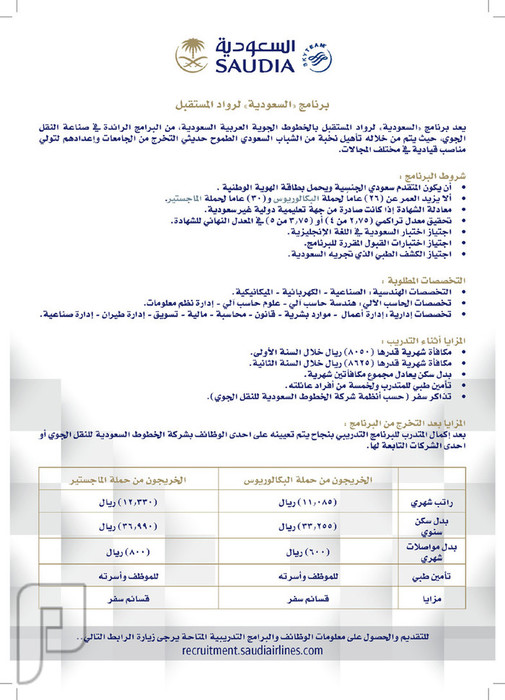 الخطوط السعودية تعلن فتح باب القبول في برنامج رواد المستقبل