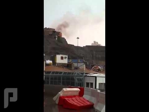 البرق يتسبب في حرق بيت في مكة .. يارب لطفك