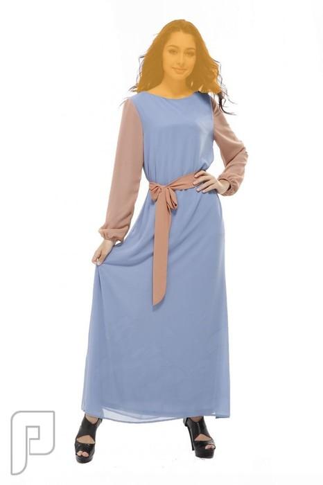 فساتين نسائية طويلة محتشمة بأنواع مختلفة فستان نسائى طويل ومحتشم لون أزرق فاتح السعر 289  رقم(2)