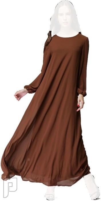 فساتين نسائية طويلة محتشمة بأنواع مختلفة فستان نسائى طويل ومحتشم اللون بنى سعرة 320  رقم (3)