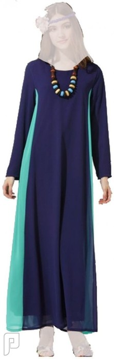 فساتين نسائية طويلة محتشمة بأنواع مختلفة فستان نسائى طويل محتشم اللون أزرق سعرة 320 ريال رقم (4)