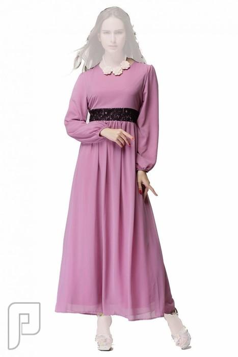 فساتين نسائية طويلة بأنواع مختلفة فستان نسائى طويل محتشم السعر 279 ريال رقم (7)