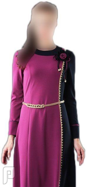 7a33602a8 ملابس نسائية تركية الأعلان الأول ثوب نسائي أرجواني بزركشة جانبية مصنع من  قماش الكريب مقاس 42