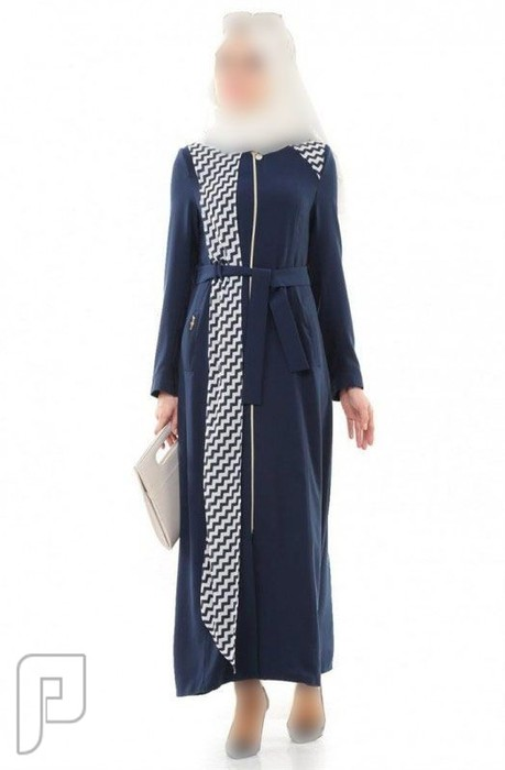 c37871fdb ملابس نسائية تركية الأعلان الأول ثوب نسائي أزرق غامق اللون بزركشة مموجة  مقاس 38 (رقم