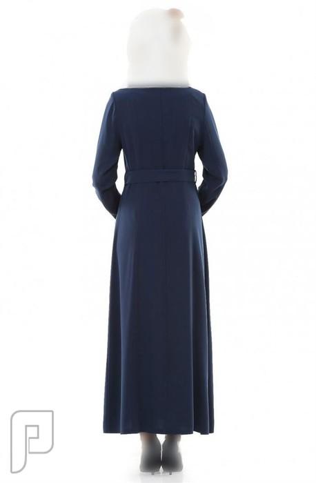 ملابس نسائية تركية الأعلان الأول ثوب نسائي أزرق غامق اللون بزركشة مموجة مقاس 38 (رقم 5) السعر 475