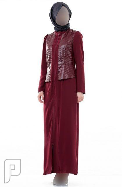 ملابس نسائية تركية الأعلان الأول ثوب نسائي عريض خمري اللون قماش فيسكوز مقاس 42 (رقم6) السعر 375