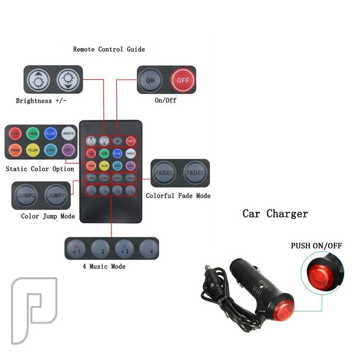 إضاءة LED داخل السيارة عبارة عن 4 لمبات ريموت