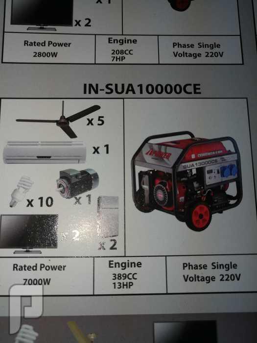 مولد كهرباء بنزين 10 كيلو صافي 7 كيلو نص يشغل هذالاجهزة في الصوره