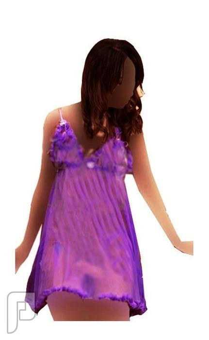 مجموعه متميزه من اللانجرى النسائى 2- لانجري نسائي على شكل قميص نوم بنفسجي اللون مصنوع من الشيفون الشفاف