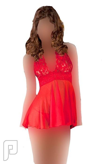 مجموعه متميزه من اللانجرى النسائى 6- لانجري نسائي على شكل قميص نوم أحمر اللون مصنوع من الشيفون الشفاف.