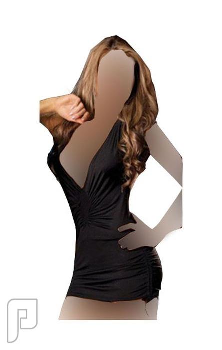 مجموعه متميزه من اللانجرى النسائى 8- لانجري على شكل فستان نوم قصير أسود اللون مصنوع من الساتان الناعم.