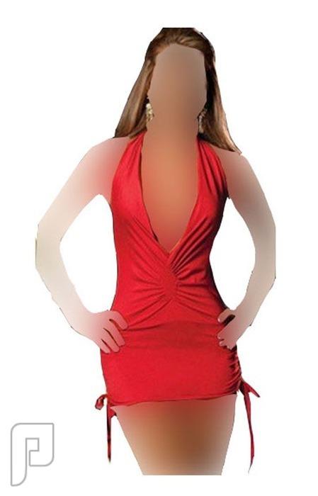 مجموعه متميزه من اللانجرى النسائى 9- لانجري على شكل فستان نوم قصير أحمر اللون مصنوع من الساتان الناعم.
