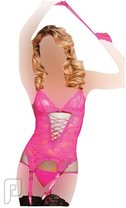 مجموعه متميزه من اللانجرى النسائى 16- لانجري نسائي على شكل ملابس داخلية لتشكيل الجسم ذو لون زهري مصنوع من الشيفون.
