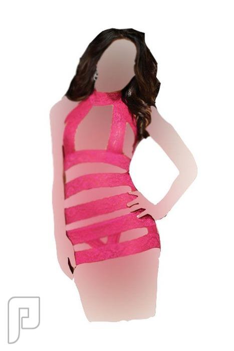 مجموعه متميزه من اللانجرى النسائى 20- لانجري نسائي على شكل لباس اللعب المصنوع من الشيفون ذو لون وردي.