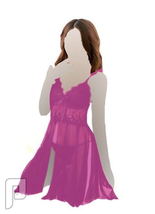 مجموعه متميزه من اللانجرى النسائى 24- لانجري على شكل قميص نوم ذو لون وردي مصنوع من الشيفون الشفاف.