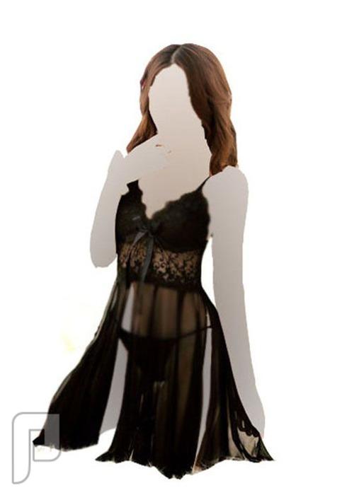 مجموعه متميزه من اللانجرى النسائى 25- لانجري على شكل قميص نوم أسود اللون مصنوع من الشيفون الشفاف.