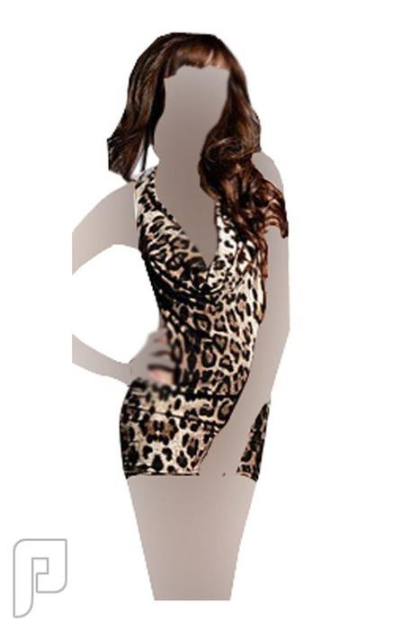 مجموعه جديدة من اللانجرى لعشاق التميز 28- لانجري نسائي على شكل فستان نوم قصير ذو لون فهدي مصنوع من الساتان الناعم.