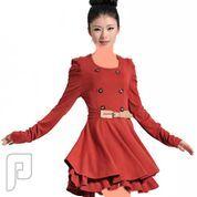 مجموعه متميزة من الملابس النسائية الاعلان الثانى 10- فستان نسائي مصنوع من القطن لونه احمر ويحتوي على حزام وسط كما بالصورة.