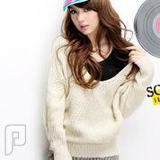 مجموعه متميزة من الملابس النسائية الاعلان الثانى 14- New V-neck Hooded Batwing Sleeve Sweater White