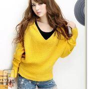 مجموعه متميزة من الملابس النسائية الاعلان الثانى 13- New V-neck Hooded Batwing Sleeve Sweater Yellow