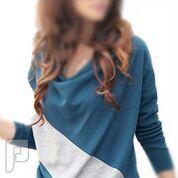 مجموعه متميزة من الملابس النسائية الاعلان الثانى 18-  بلوزة زرقاء مصنوعة من القطن مقاس إسمول