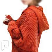 مجموعه متميزة من الملابس النسائية الاعلان الثانى 16- New V-neck Hooded Batwing Sleeve Sweater Red