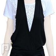 مجموعه متميزة من الملابس النسائية الاعلان الثانى 24- فستان قطعة واحدة بأرجل بنطلون ذو لون أسود ومقاس XL