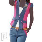 مجموعه متميزة من الملابس النسائية الاعلان الثانى 26- بدلة نسائية من قطعتين جاكت وبنطلون قصير اللون وردي في أزرق المقاس XXL