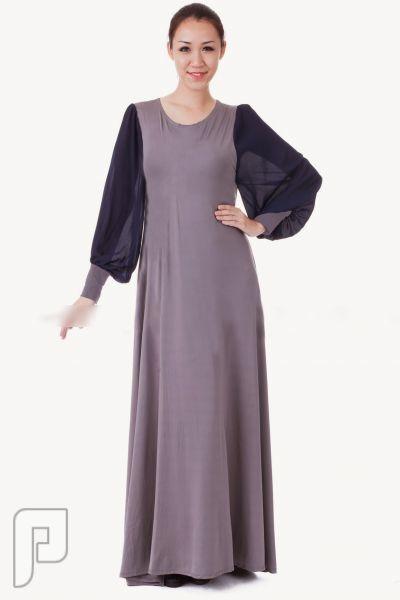 مجموعه متميزة من الملابس النسائية الاعلان الثالث 13- فستتان نسائي طويل ومحتشم من الشيفون وذو أكمام طويلة