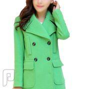 مجموعه متميزة من الملابس النسائية الاعلان الثالث 14- معطف نسائي أخضر اللون ذو أكمام طويلة وبصفين زارير و المقاس XL