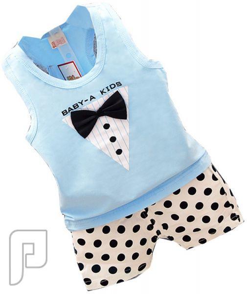 بدل للأطفال مكونة من قطعتين بأشكال مختلفه بدلة أطفال زرقاء اللون