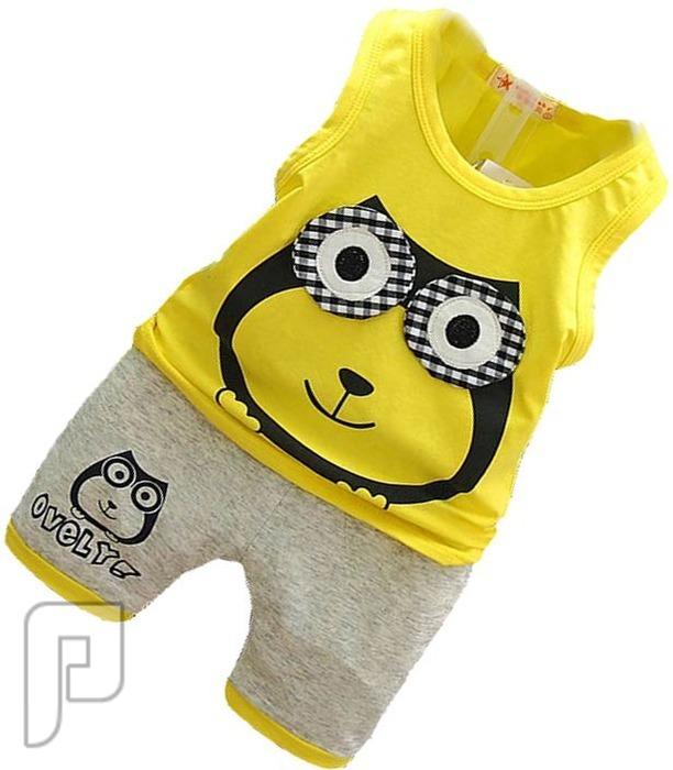 بدل للأطفال مكونة من قطعتين بأشكال مختلفه بدله أطفال صفراء اللون