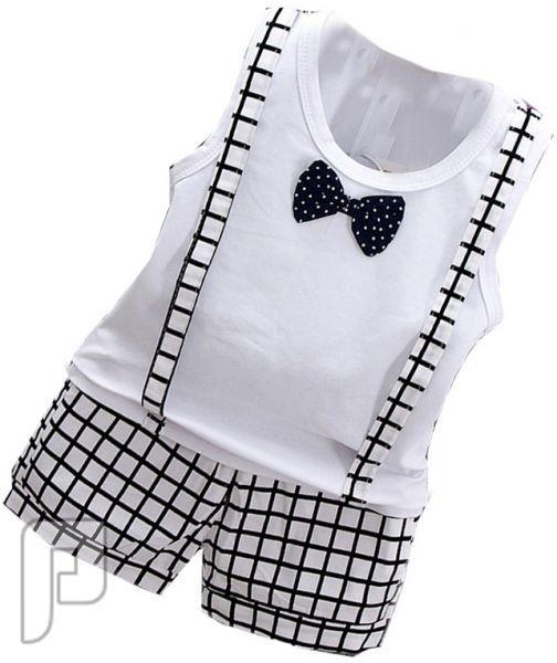 بدل للأطفال مكونة من قطعتين بأشكال مختلفه بدلة أطفال بيضاء اللون