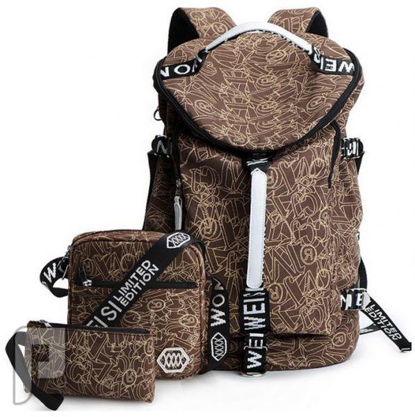 مجموعه من الحقائب والشنط تصلح للرحلات والمدارس طقم حقيبة ظهر من ثلاث قطع مختلفة الحجم ذات لون بني
