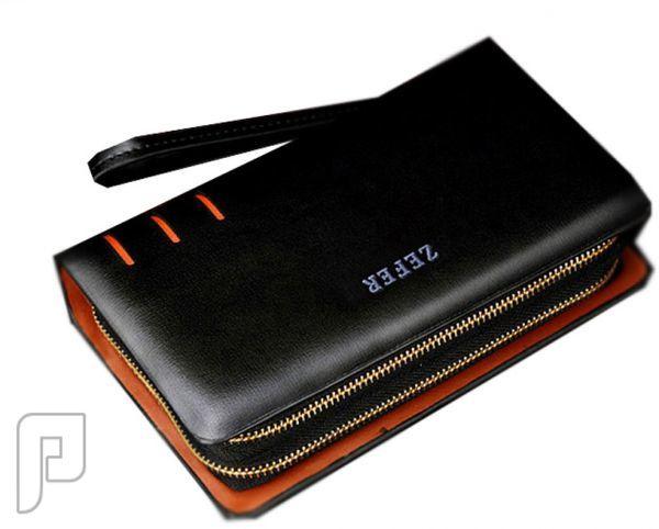 مجموعه من الحقائب والمحافظ الرجالية المتميزة محفظة رجالية سوداء اللون ماركة زفر مصنوعة من الجلد