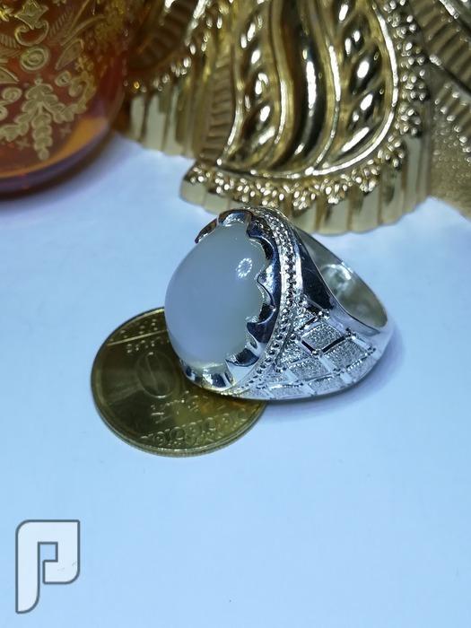 خواتم حجر القمر الطبيعي وفضه شغل مرتب