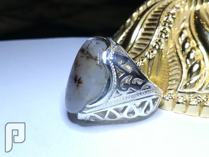 خاتم عقيق يماني شجري طبيعي