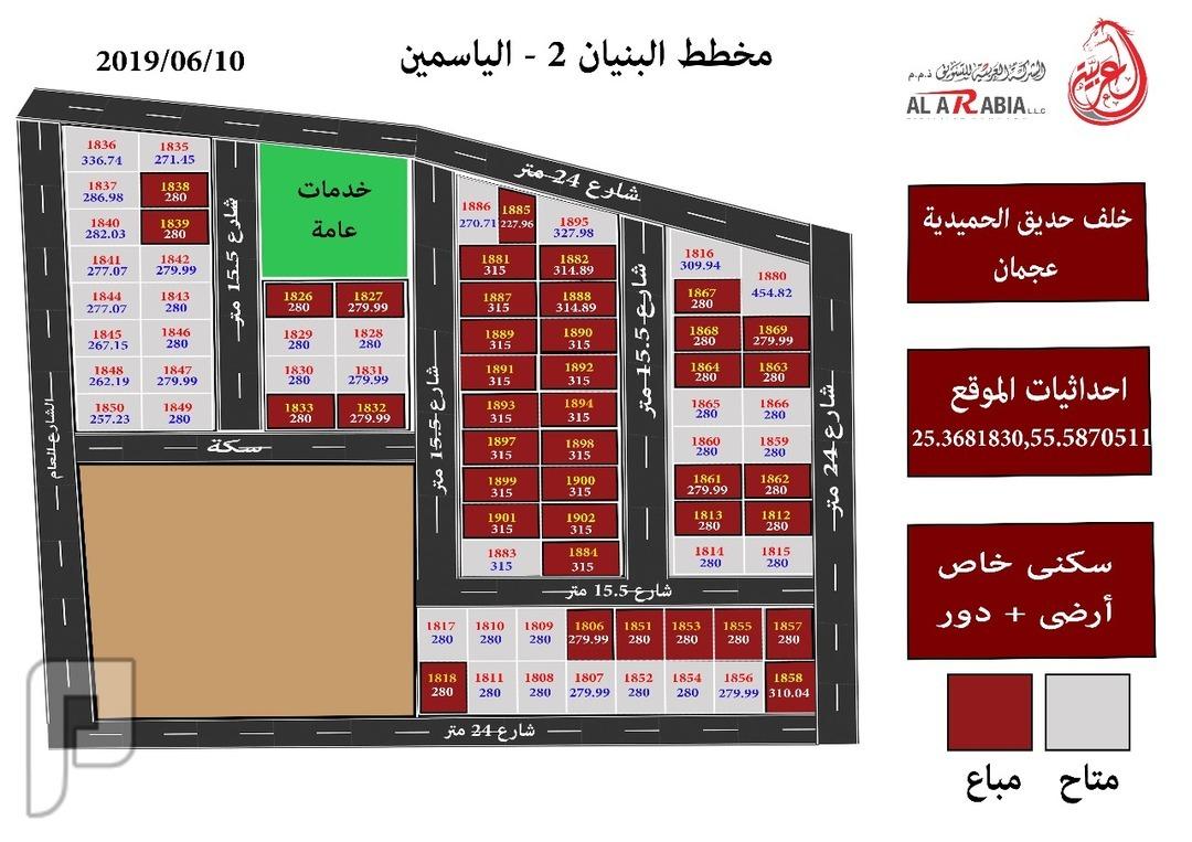 أراضي سكنية بمخطط البنيان 2 بحي الياسمين 280 متر