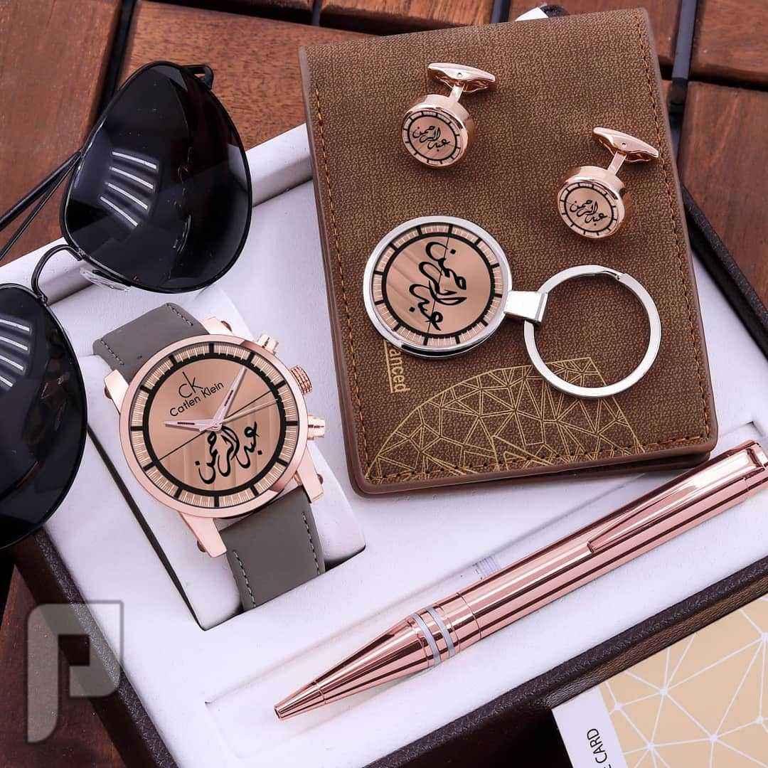 لعشاق الفخامة والاهداء المناسب جديدنا ساعة رجالي مع تصميم الاسم حسب الطلب