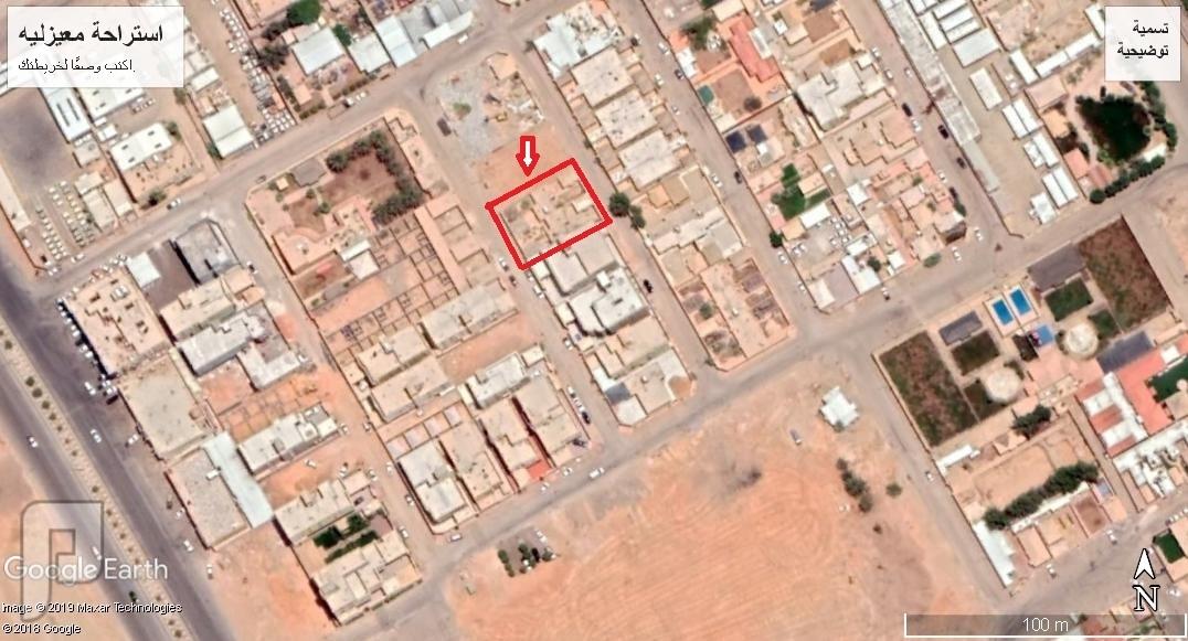 للبيع ارض م 600 م2 , شارعين ,  مقام عليها استراحة خاصه  ,حي  المعيزليه  , ش