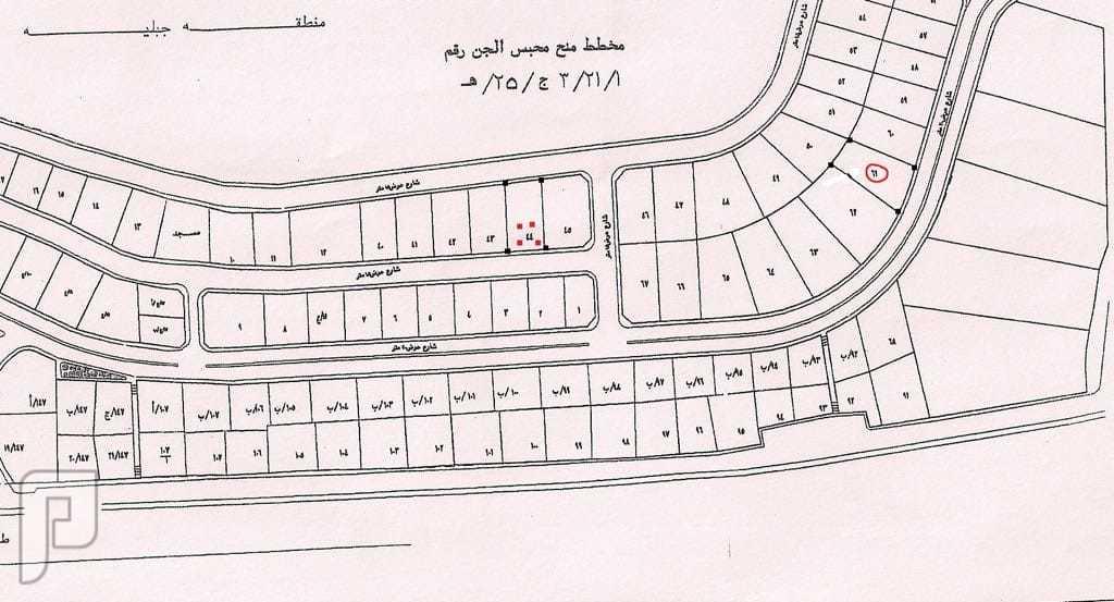 محبس الجن قطعتين ارض للبيع مرفق ((صورة المخطط ))