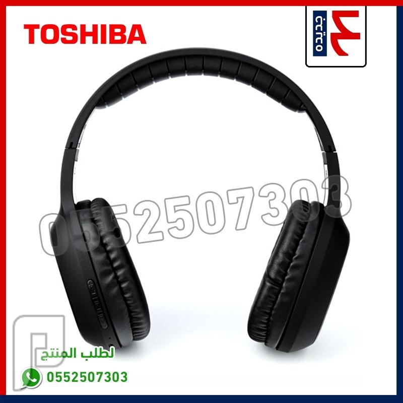 سماعة رأس تعمل بالبلوتوث ماركة توشيبا الأصليه صوت قوي